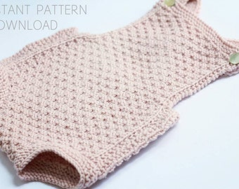 "Baby romper Knitting pattern ""Mia""- download pdf- baby knitting pattern- easy baby knitting- strikkeoppskrift"
