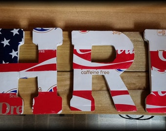 medium upcycled soda can letters