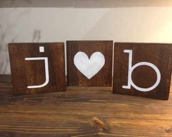 Initial Wood Blocks, Wedding Decor, Rustic Home Decor, Wood Blocks, Home Decor, Love Wood Signs, Wood Signs, Signs, Rustic Sayings