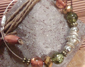 Handmade clasped antique silver/bronze metal, gold crystal and beautiful brown crackled glass beaded bracelet