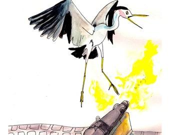Stanley Park art print, stanley park vancouver heron illustration, vancouver art, stanley park cannon, vancouver bird art, heron print,