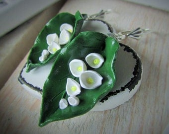 Polymer clay jewelry, Flower Earrings, Flower lily of the valley