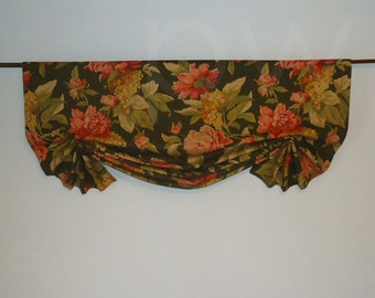 Richloom Olive Floral Window Valance  Faux Shade