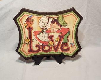 LOVE! 1970's hangable plaque