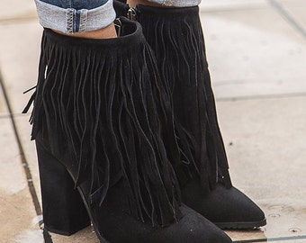 Fringe High Heel Booties, Pointy Women Booties, Boots, Ankle Boots