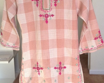Plaid Pink and Beige Childrens Tunic