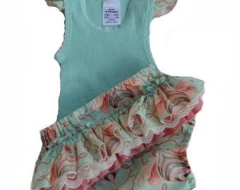 Baby girl ruffle Nappy cover and flutter top, mint, lace