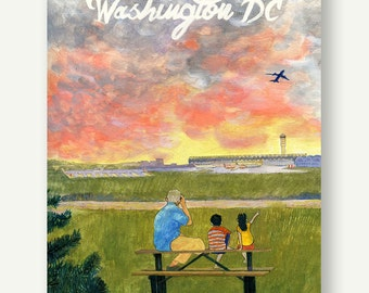 Family at Gravelly Point - Postcards from Washington DC - Grandparents Day gift, sunset print, travel poster, present for him, airplane art