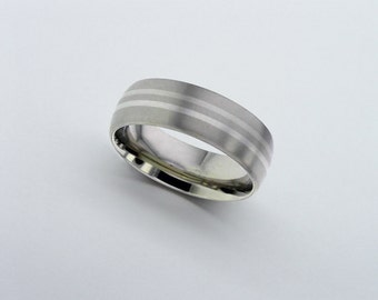 Palladium Wedding Ring, Titanium Band, Inlaid Titanium Wedding Band, Mens Wedding Band, Personalised Band