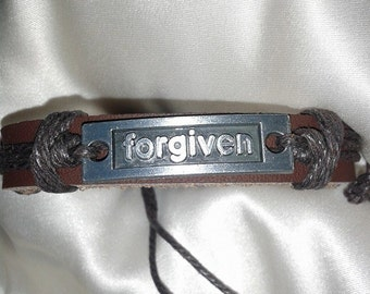 Forgiven or silver cross 4  Leather Bracelet