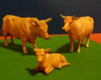 Vintage 1980's Britains Farm Animals, 1 x Jersey Cow, 1 x Jersey Bull, 1 x Jersey Calf, A Jersey Cattle Family, Scale 1.32