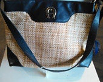Vintage Aigner Straw and Navy Saddle Bag