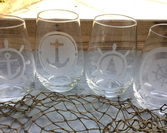 Nautical etched Stemless glassware