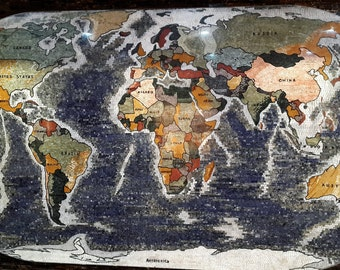 World Map Made With Handcrafted Marble Mosaic / Wall Art