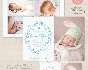 Birth announcement template | Etsy AU