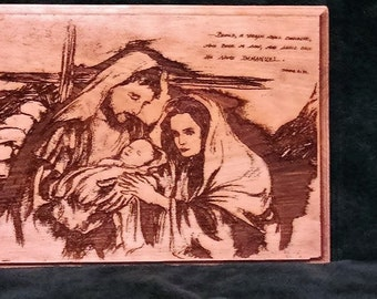 Jesus' Birth - engraved wood decor