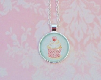 Cake necklace, Kids, necklace, Kids pendant, glass necklace, gift for teen, cake jewelry, kawaii, kawaii jewelry, pink necklace, teen,