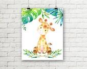 Baby Giraffe Print, Jungle Safari Nursery Print, Printable Wall Art, Baby Room Decor Leaves Flowers 8 x 10 Instant Digital Download