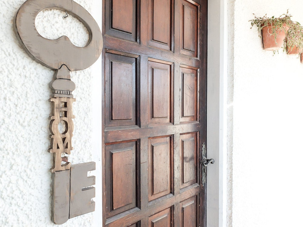 Wooden Key Wood Sign Wall Decor Large Size By Holywoodideas