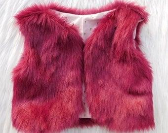Toddler Faux fur vest, Maroon