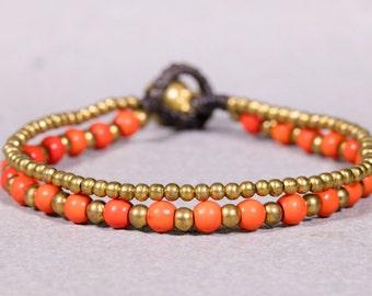 Coral Bracelet, Beaded Bracelet, Gol beads bracelet B-17