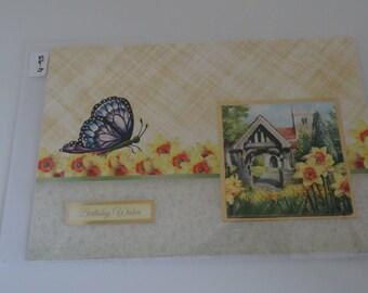 Old Church & Butterfly Birthday Card - Cardtwocard