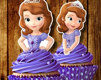 PRINTABLE Sofia the First Cupcake Toppers / Sofia Cupcake Toppers / Instant Download / Printable Party Favors