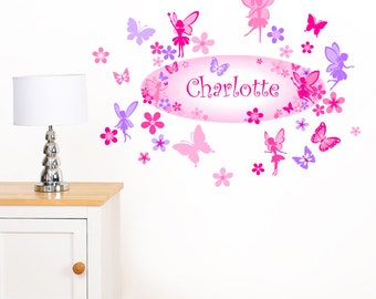 Personalised Fairies, Flowers and Butterflies Girl's Name - Childrens Fairy Printed Art Vinyl Wall Stickers - Designed by Rubybloom Designs