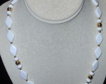 Trifari White triangle and Gold Bead Necklace