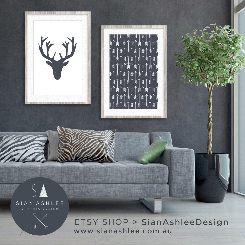 Living Room Art Printables: Deer Head Wall Art Living Room Decor DIY Print Deer Head