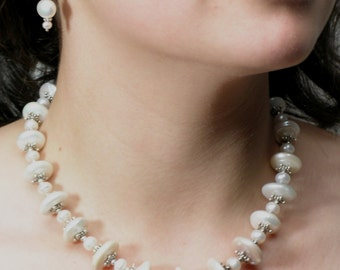 Beautiful graduated white coin pearls