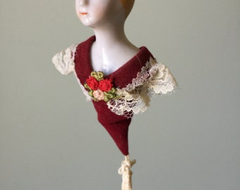 Hanging Porcelain Doll Bodice. Victorian doll. Hanging doll