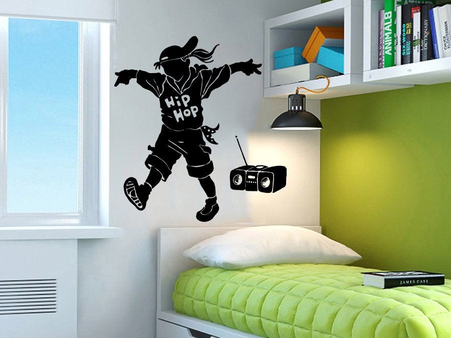 Hip hop wall decal dance studio dancer dance vinyl sticker for Hip home decor