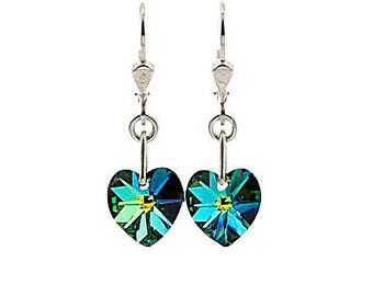 SWAROVSKI Mini Heart Sterling Silver Earrings in Petrol Greens