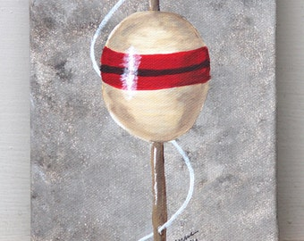 Antique Bobber: Original Acrylic Painting on Stretched Canvas, 5x7 inches