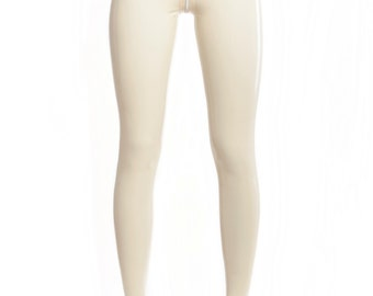 Latex leggings without seams on the outside of the legs with crotch zipper
