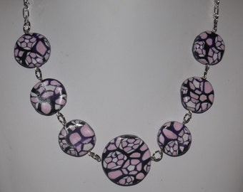 Polymer clay necklace with silver chain, Pink/White/Black, handmade beads