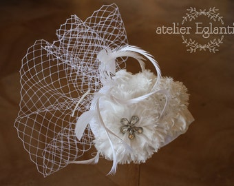 Bibi wedding flowers silk, feathers and veil