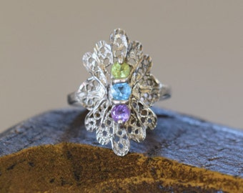 Vintage Filigree Purple Green Blue Multistone Silver 925 Ring, US Size 5.0, Used