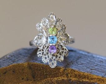 Vintage Filigree Purple Green Blue Multistone Silver 925 Ring, US Size 5.0, Used