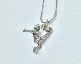 Male Soccer Kick Player Silver 925 Vintage Sports Charm, Item 15- Free Shipping within USA