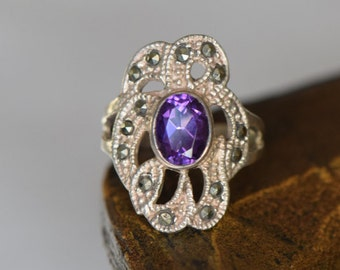 Gorgeous Purple and Hematite Vintage 925 Silver Ring, US Size 5.0, Used