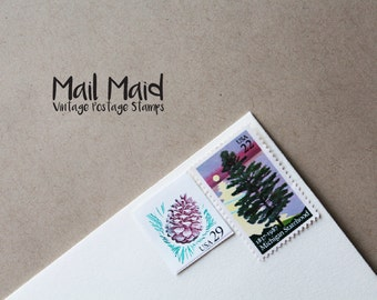 Michigan pinecones || set of unused vintage postage stamps to mail 9 standard envelopes
