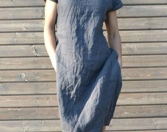 FREE SHIPPING. Limited time only! Linen tunic dress in dark blue/gray. Linen dress,Linen clothing, dress for women,women linen loose dress