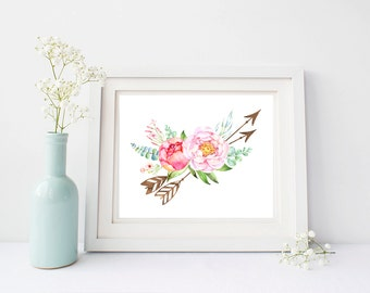 Floral Arrows Printable Wall Art, Boho Arrows Art, Arrows Nursery Art, Pink Girl Nursery Art, Arrows Printable, Boho Tribal Instant Download