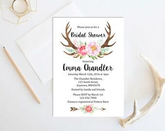 Pink Floral Antlers Boho Bridal Shower Invitation, Printable Boho Bridal Shower Invite, Boho Antlers Bridal Shower Invite, Download, 103-P