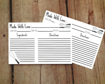 Made With Love Recipe Cards 4x6, Recipe Cards Printable, Recipe Cards Bridal Shower, Recipe Cards For Bridal INSTANT DOWNLOAD