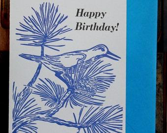 Pinyon Jay Letterpress Birthday Card
