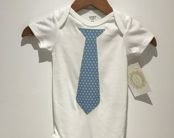 Blue With Green Dots Tie - Bella and Fella Couture Onesie