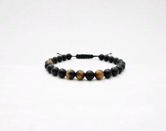 Bracelet Onyx givré & Oeil de tigre - Bracelet homme perles semi-précieuses